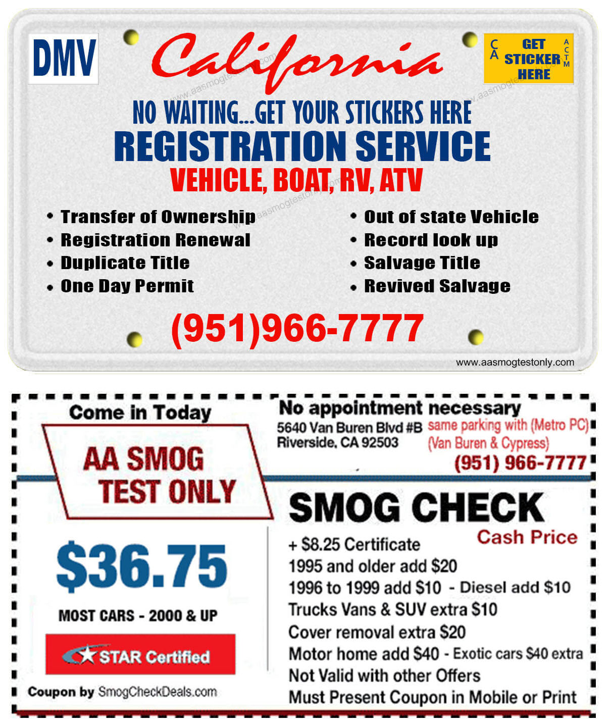 California Registration Service Aa Smog Test Only Star