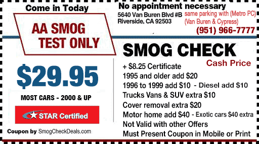 Smog Coupon Riverside